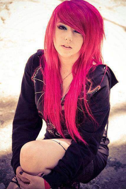 emo girl pink hair brown eyes
