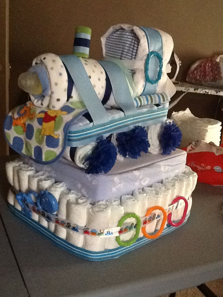 Train Diaper Cake I Made Diaper Cake Baby Shower