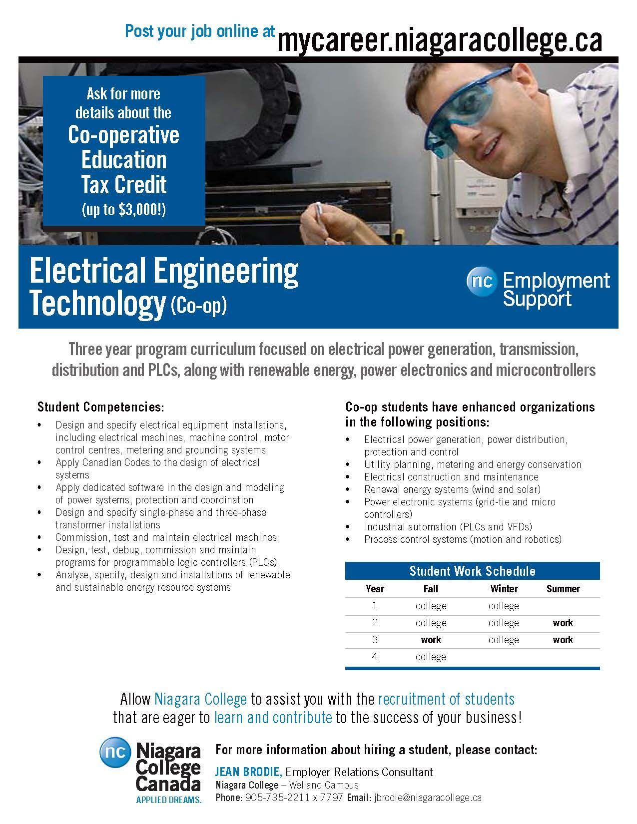 Electrical engineering technology niagara college canada
