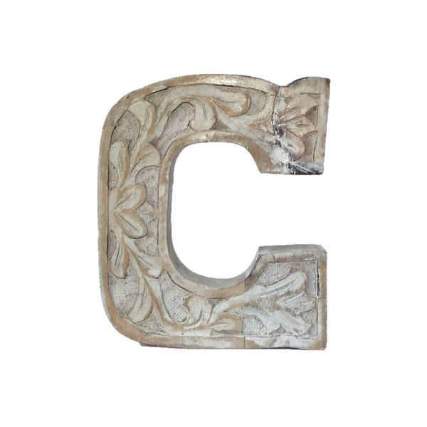 Wooden Carved Letter C, White Distress Finish Chloe painting