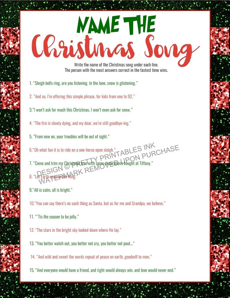 Printable Christmas Game Instant Download Christmas Carol Game Christmas Party Game Christmas Song Quiz Virtual Christmas Game In 2020 Printable Christmas Games Christmas Song Games Christmas Carol Game