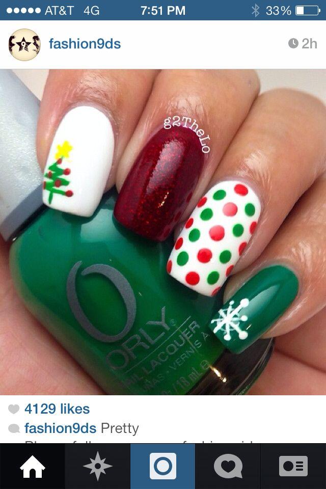 Christmas nail art | Christmas DIY Nails | Pinterest | Uñas navidad ...