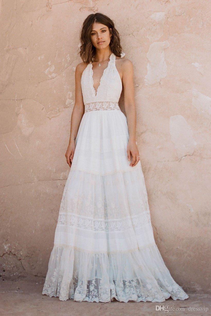 Discount 2019 Bohemian Wedding Dresses Halter Deep V Neck