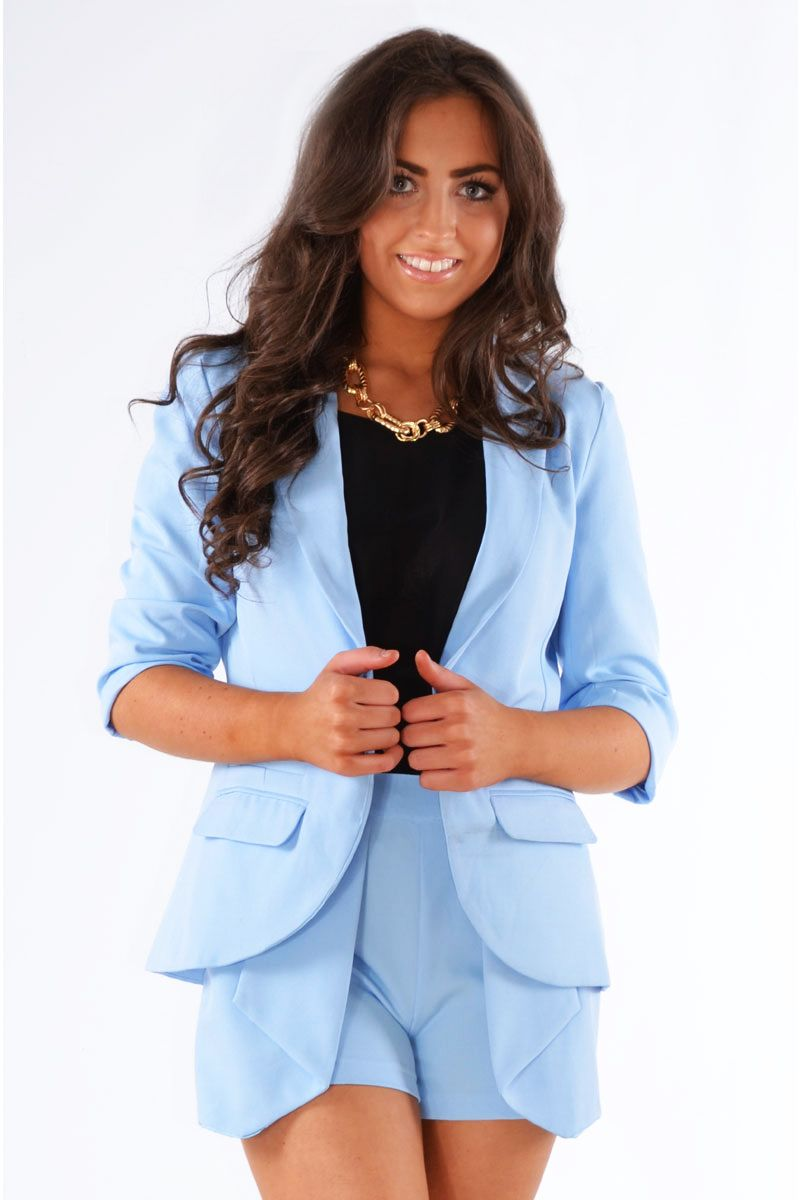 Pop Couture - Delilah Two Piece Fitted Blazer And Pleated Wrap ...