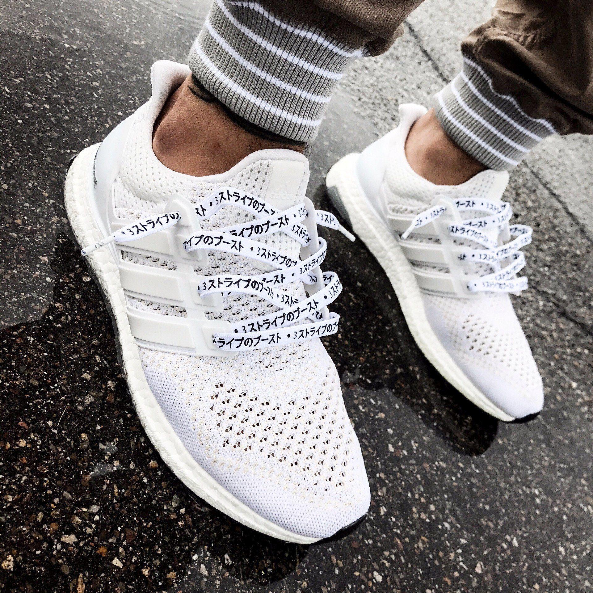 KATAKANA LACES - WHITE | Adidas white shoes, Lace adidas shoes ...