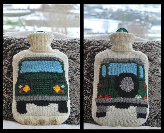 Knitting Pattern - Tejer una botella cubierta de agua caliente basada en el Land Rover (Land Rover)