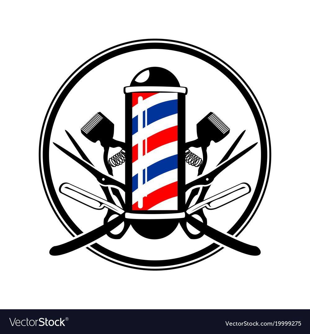 Circular Emblem Barber S Pole With Scissor Razor And Old Clippers Symbol Vector Graphic Bad Ideias Para Barbearias Quadros Para Barbearia Logotipo Do Barbeiro