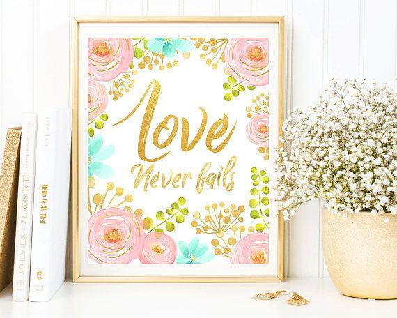 Love Never Fails, Floral Wall Art, Bible Verse, Scripture Wall ...