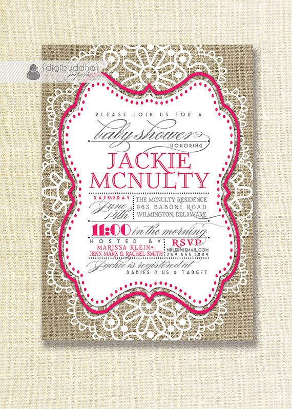 Fuchsia Lace Burlap Baby Shower Invitation Hot Pink White Lace Linen Shabby  Chic Baby Girl Script DIY Printable Digital Or Printed  Jackie