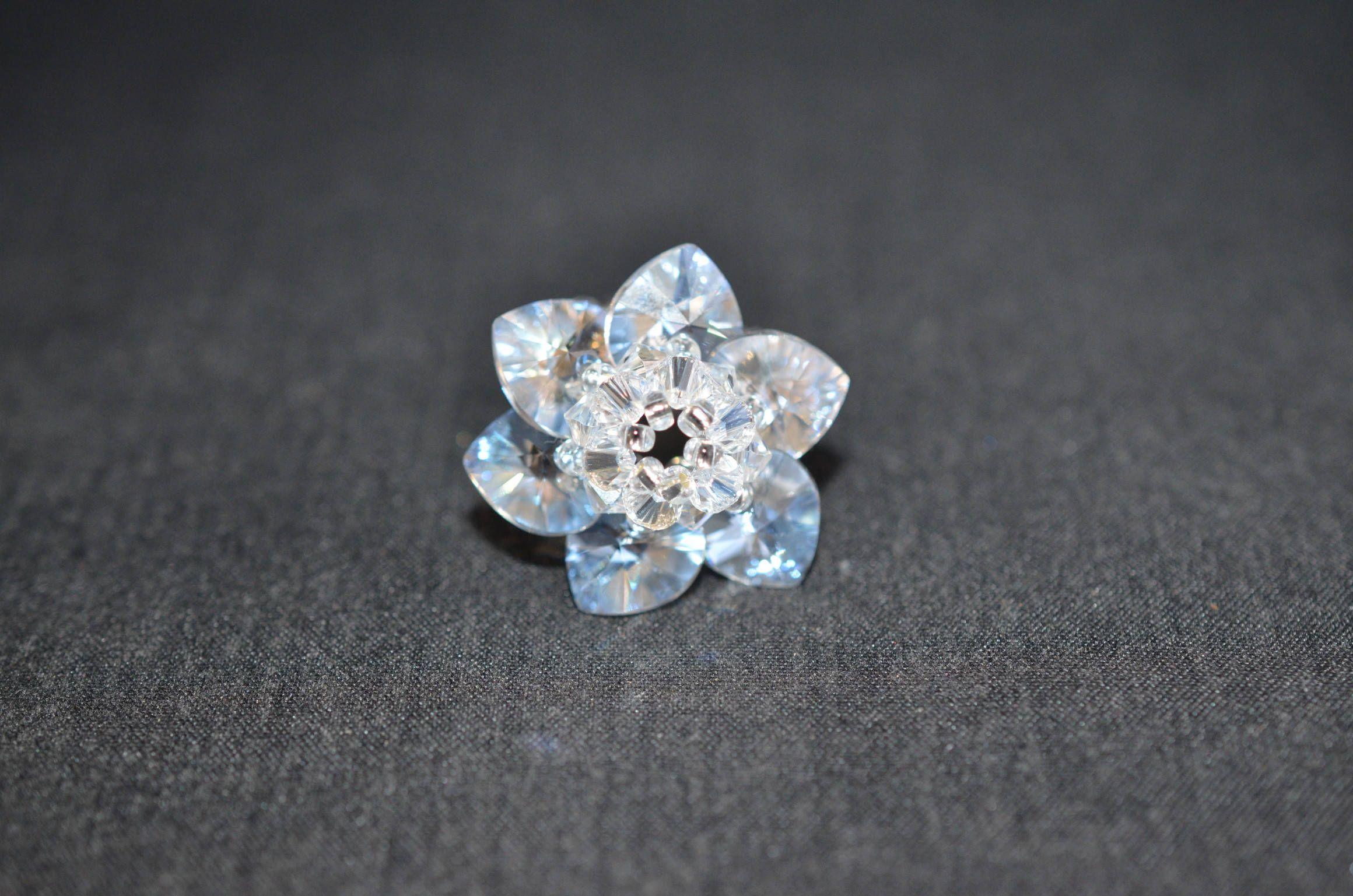 Bague cristal Swarovski bague fleur bijou moderne crystal | Etsy ...