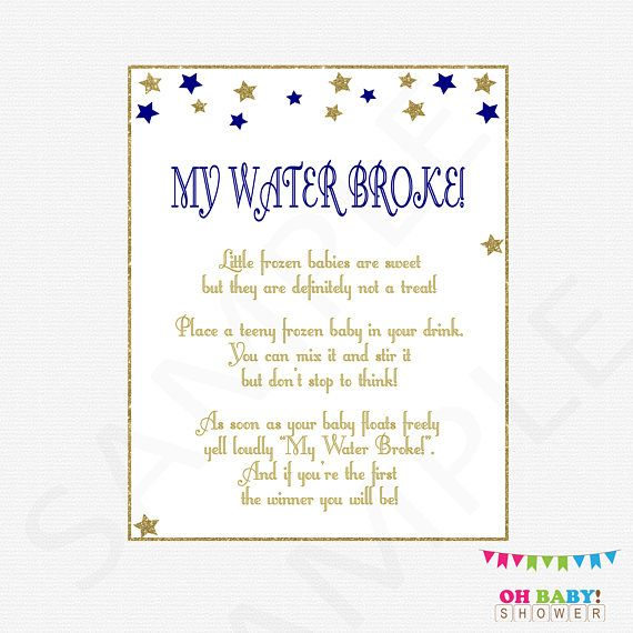 Navy And Gold Baby Shower, My Water Broke, Twinkle Twinkle Little Star Baby  Shower Games, Stars, Frozen Baby Game, Printable Download, STNG