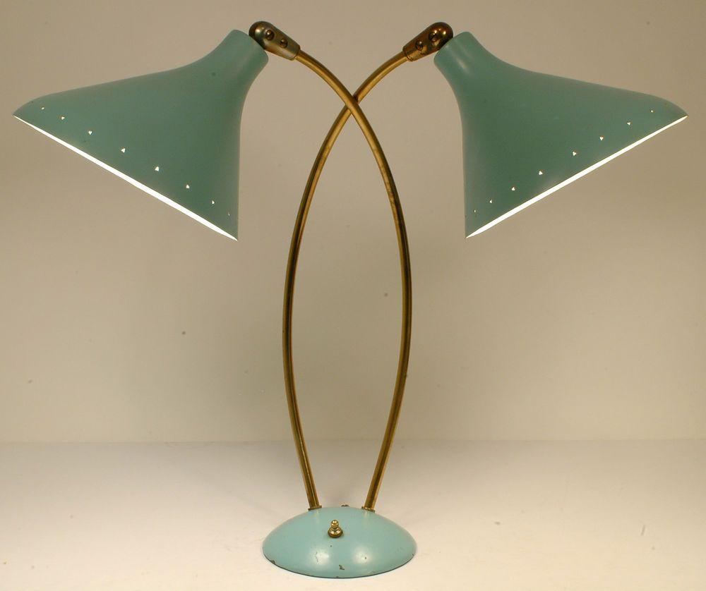 Vintage 40s cast iron metal deco industrial gooseneck desk lamp light - Vtg Bauhaus Thurston Eames Era Retro 40s 50s Mcm Electrolier Turquoise Desk Lamp