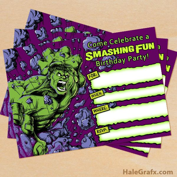 FREE Printable Incredible Hulk Birthday Invitation – Hulk Birthday Invitations