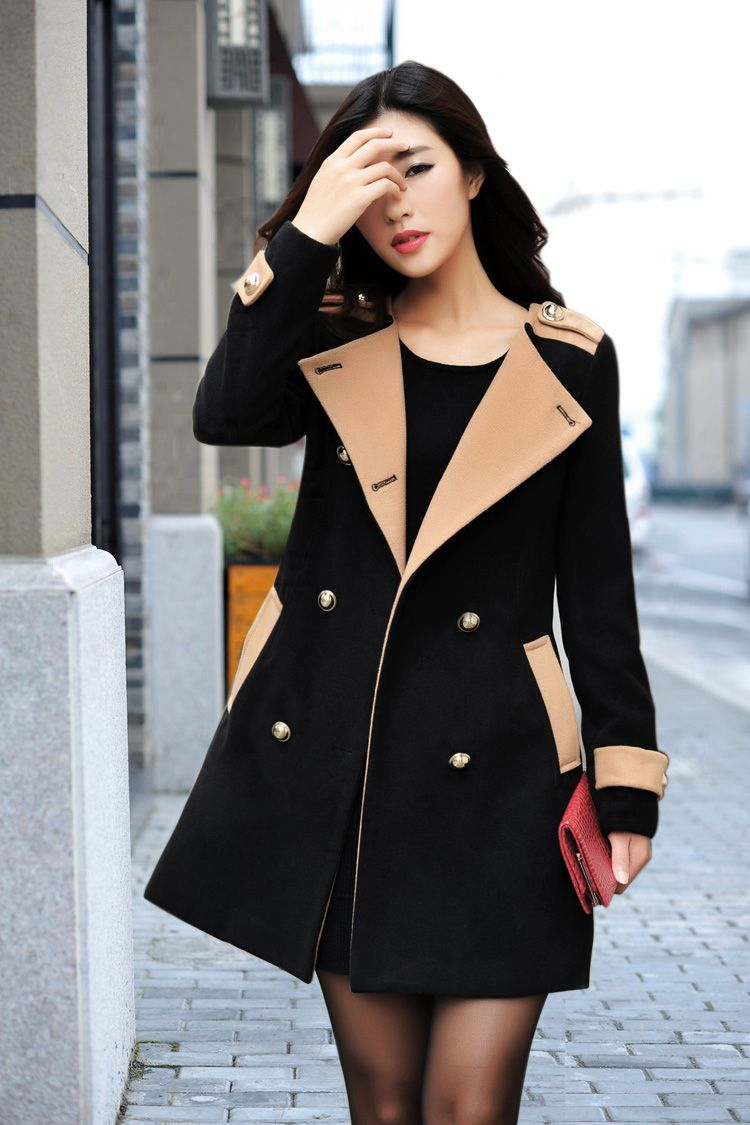 eeb6f6161c635 Double Breasted Long Black Wool Coat | Get in my closet! | Fashion ...