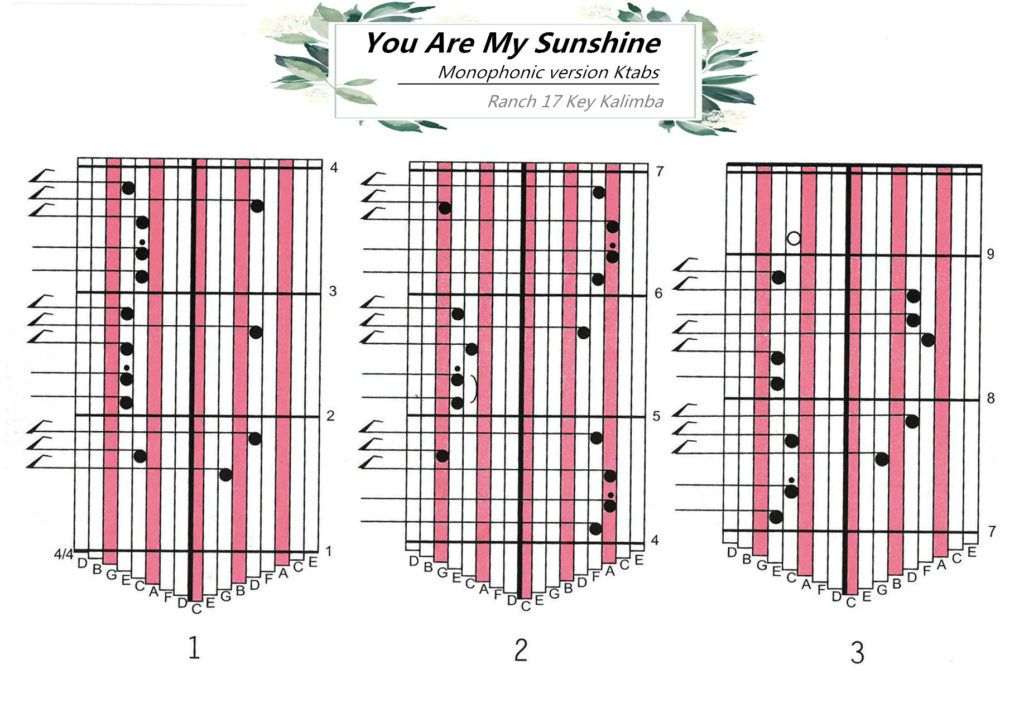 Ranch Beginners 17 Key Kalimba Lesson 2 You Are My Sunshine