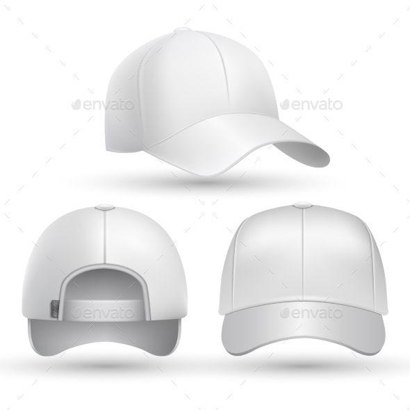 40f58acb Realistic baseball cap front, side, back views set. Fashion cap baseball  for sport, mockup of white cap. Stock vector illustration