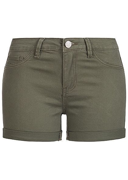 301e3838b52f40 Seventyseven Lifestyle Damen Shorts 2-Pockets Beinumschlag 2 Deko Taschen  khaki