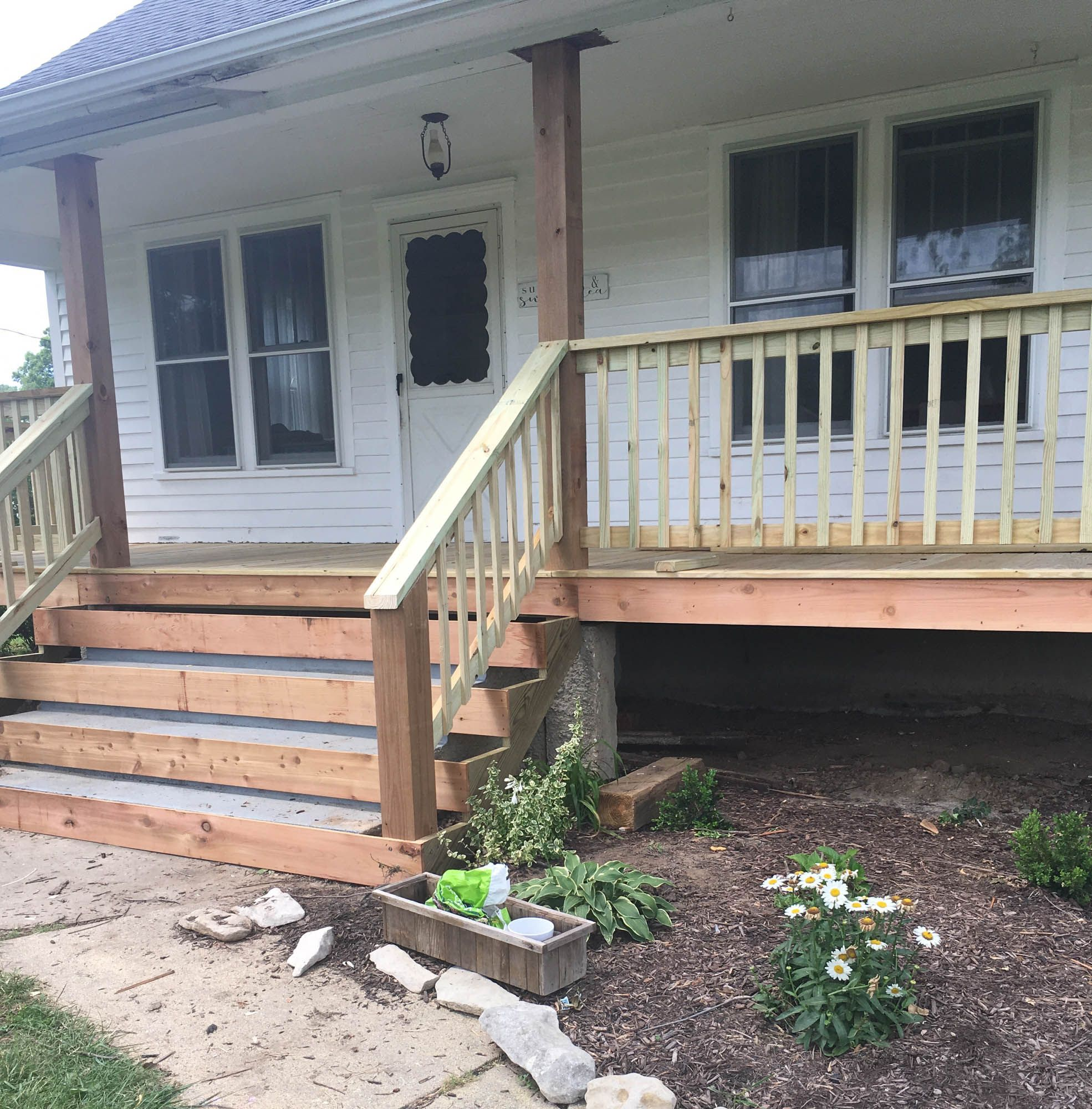 How to Cover Concrete Steps with Wood | Porch steps ...