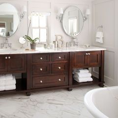 Handsome Cabinets, Great Dove Grey Color On Wall. Love The Marble Floor.