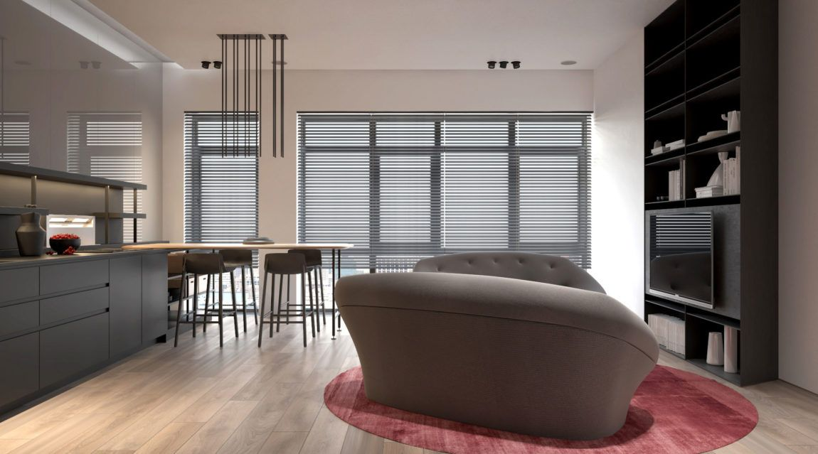 Kdva architects visualize a minimalist apartment in moscow russia