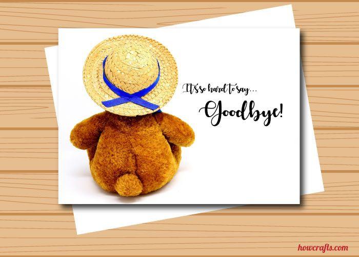 Cute Teddy Bear Farewell Card Free Download From WwwHowcrafts