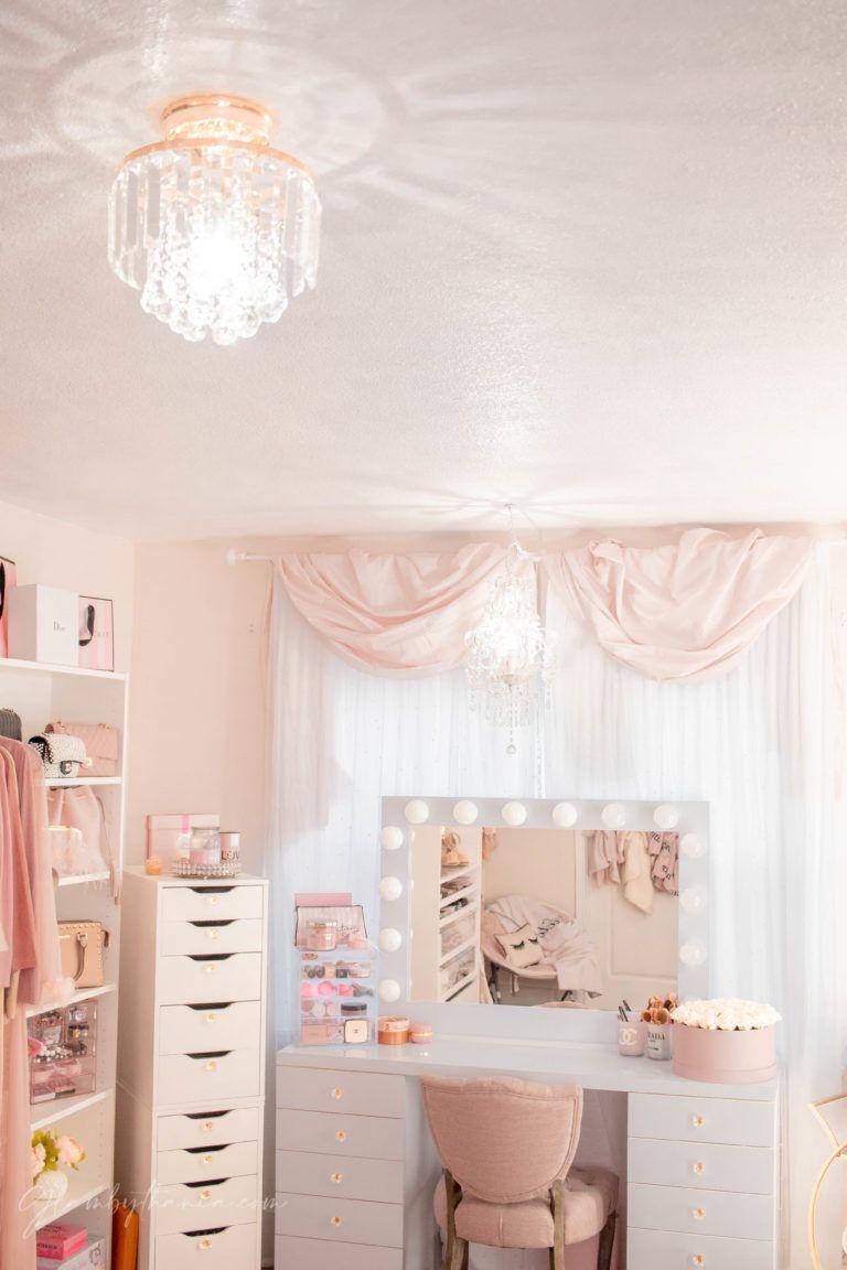 Pink Walk In Closet Beauty Room Reveal In 2020 Girl Bedroom Decor Girl Bedroom Designs Room Makeover