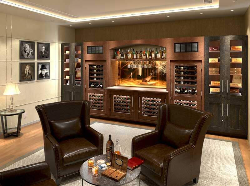 Man Cave With Custom Cigar And Wine Cabinets