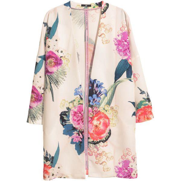 H&M Patterned kimono (€26) ❤ liked on Polyvore featuring outerwear, coats, jackets, kimono, kimono coat, h&m coats, pink kimono, print kimono and pink coat