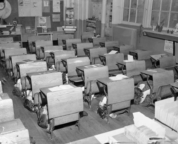 I Remember Having Drills In Class Hiding Under My Desk If An Atomic Bomb Went Off Air Raid History Memories