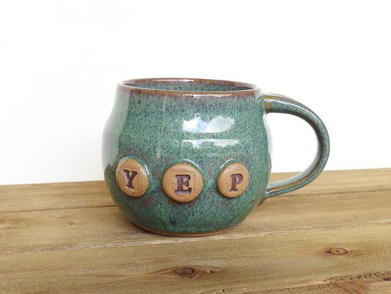 Stoneware Pottery Mug in Sea Mist Glaze  Ceramic by dorothydomingo