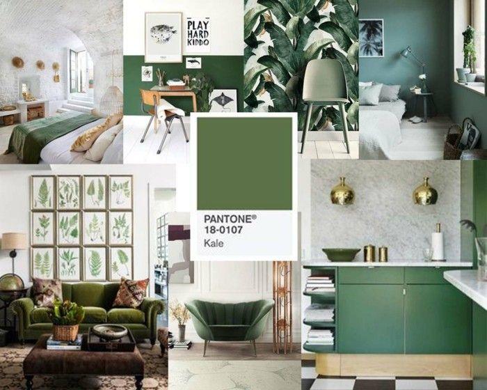 wandfarben palette blautöne 2017 grünkohl interiordesign Farben - wandfarben wohnzimmer grun