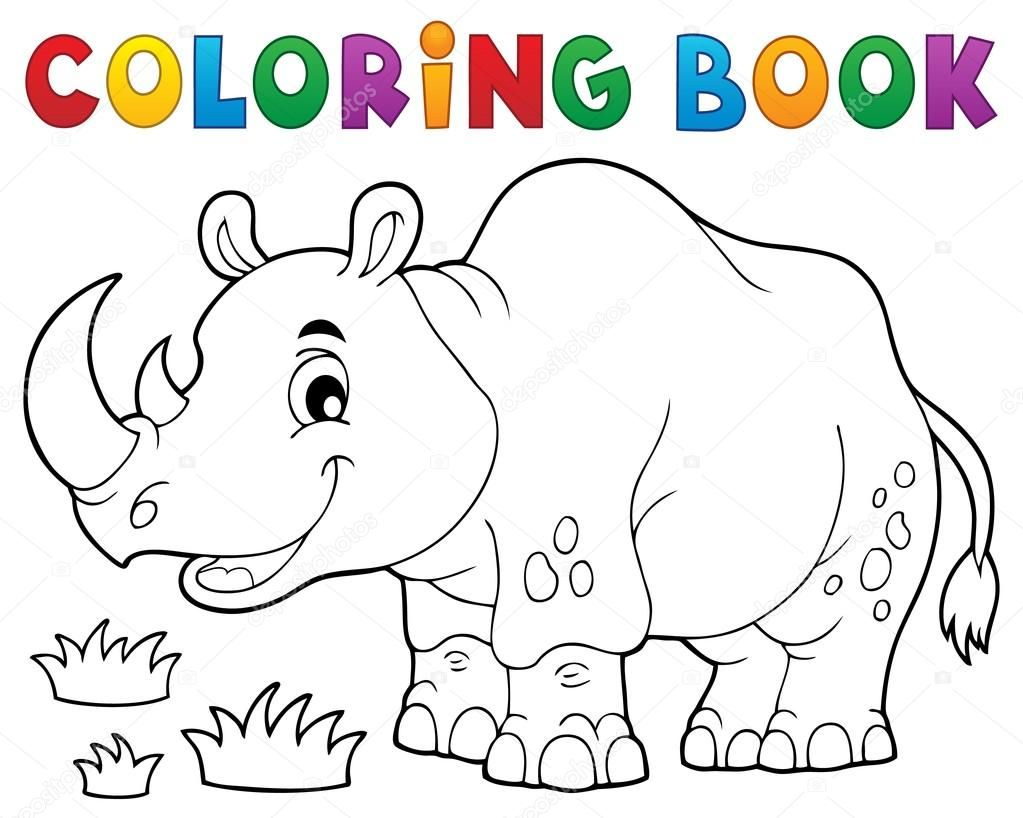 downloaden kleurplaat boek rhino thema afbeelding 1