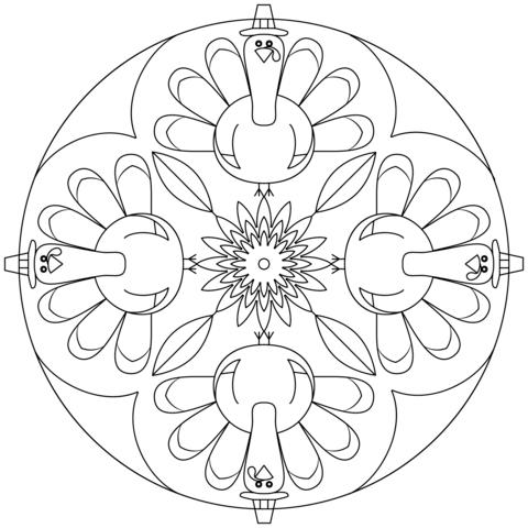 Thanksgiving Mandala coloring page from Animal mandalas category ...
