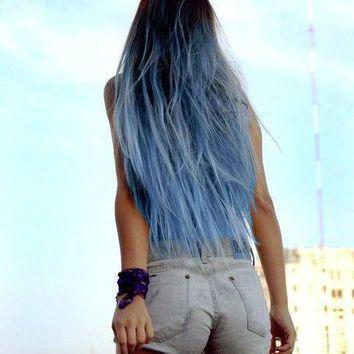 Sky Blue Ombre Hair Extensions Blue Dip Dye Hair Dark Brown