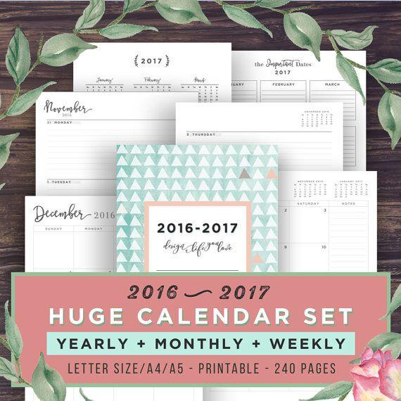 2017-Planer Kalender Printable Planner von PrintablePineapple