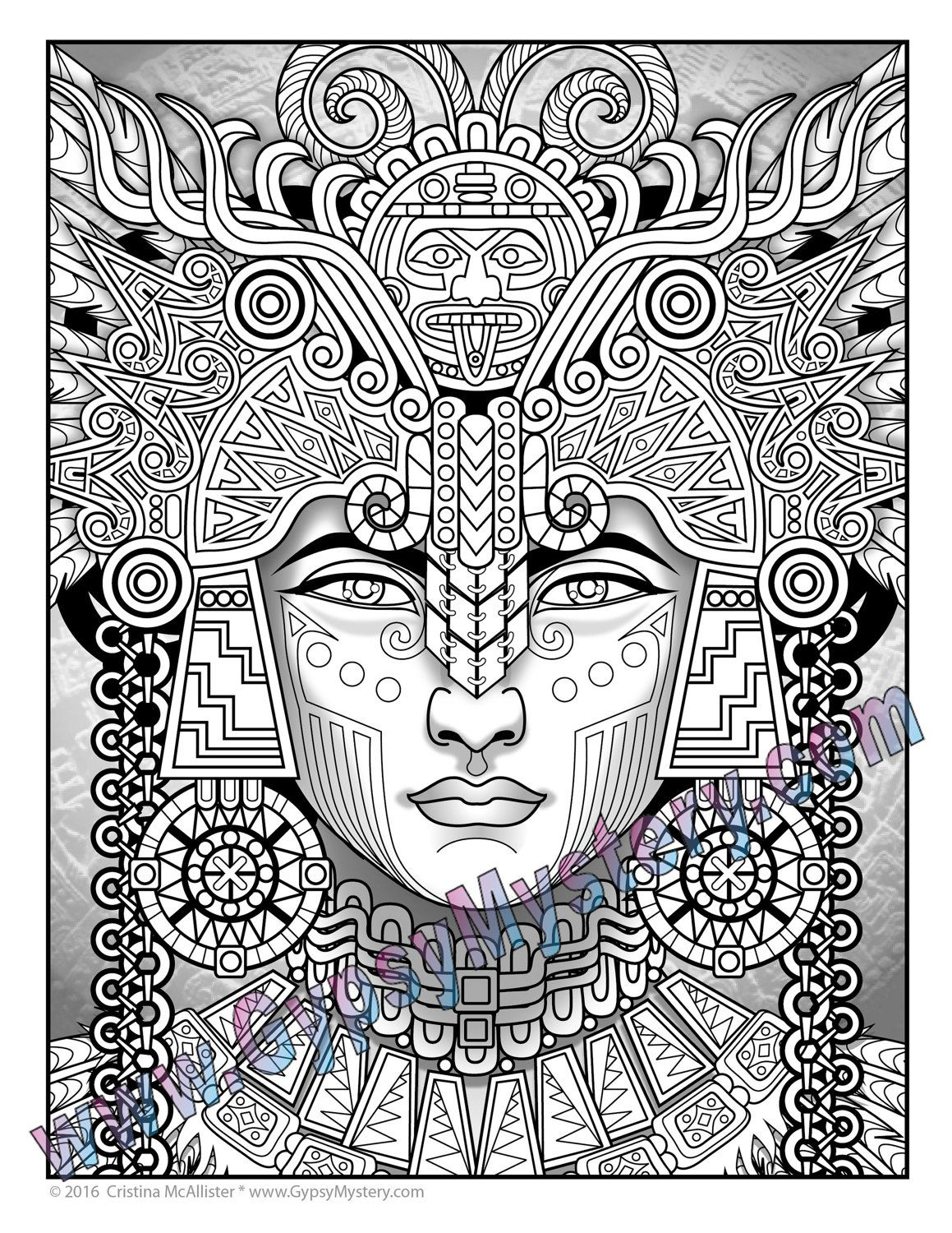 Single Coloring Page Mayan Astrologer From The Magical