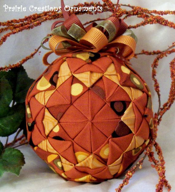 Autumn Patchwork Quilted Ball Fall Decor Quilt Block Ornament ... : quilted ball - Adamdwight.com