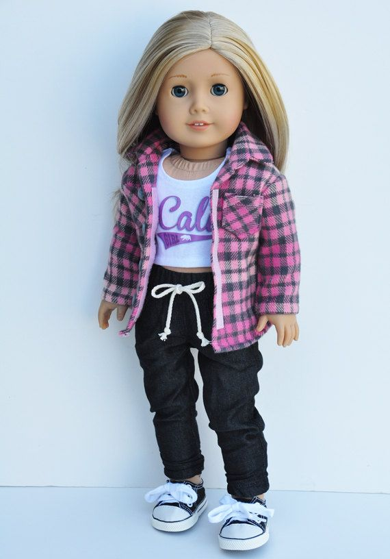 American Girl Clothes Pink Grey Flannel Button Down