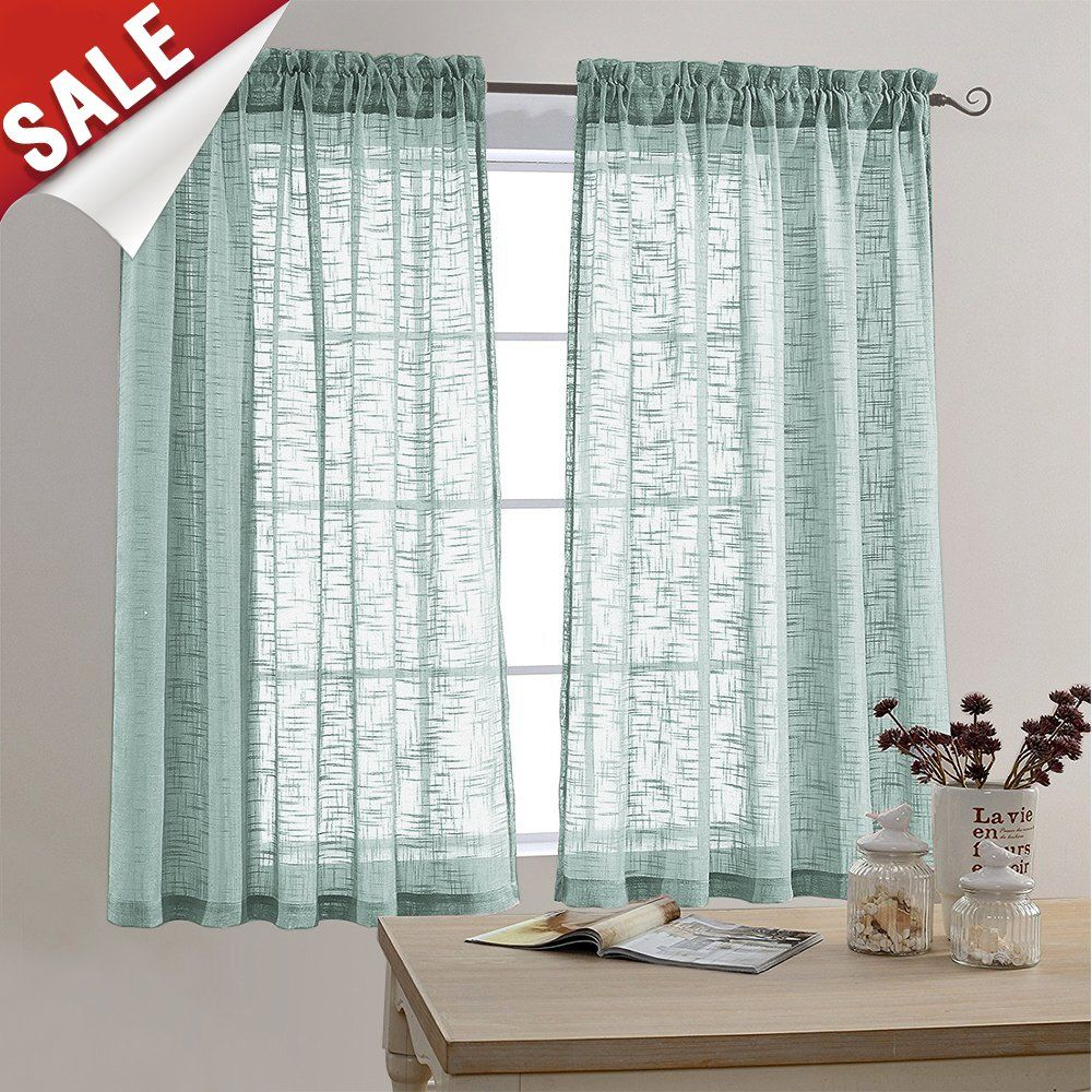 Faux Linen Textured Sheer Curtains Rod Pocket Sheer Curtain For Bedroom 63 Inches Long Living Room Wi Green Sheer Curtains Window Curtains Living Room Curtains