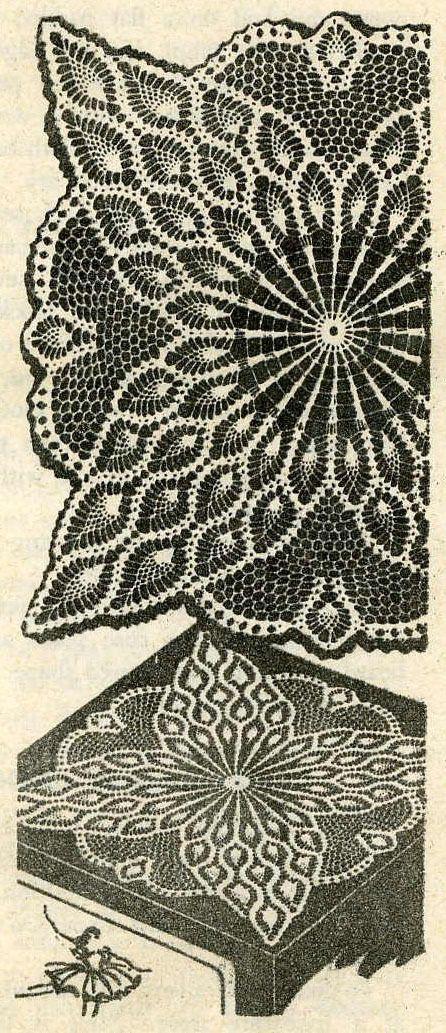 Vintage 1960s Crochet PATTERN 7363 TV cover Pineapple Doily 21 24 or ...