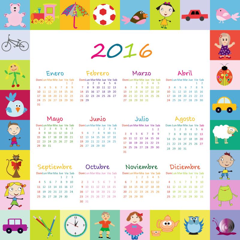 Calendario Para Ninos De Kinder.Calendario 2016 Infantil En Espanol Y Editable 2016 Varios