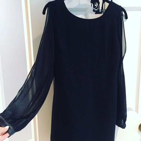 slit-sleeve black dress  Gorgeous NWT sheer sleeve black dress from Forever 21! Third photo is the back of the dress. Sleeves have slits and are sheer. Perfect for a summer party. Loved it but too big on me! Never worn, tags still attached. Forever 21 Dresses Midi