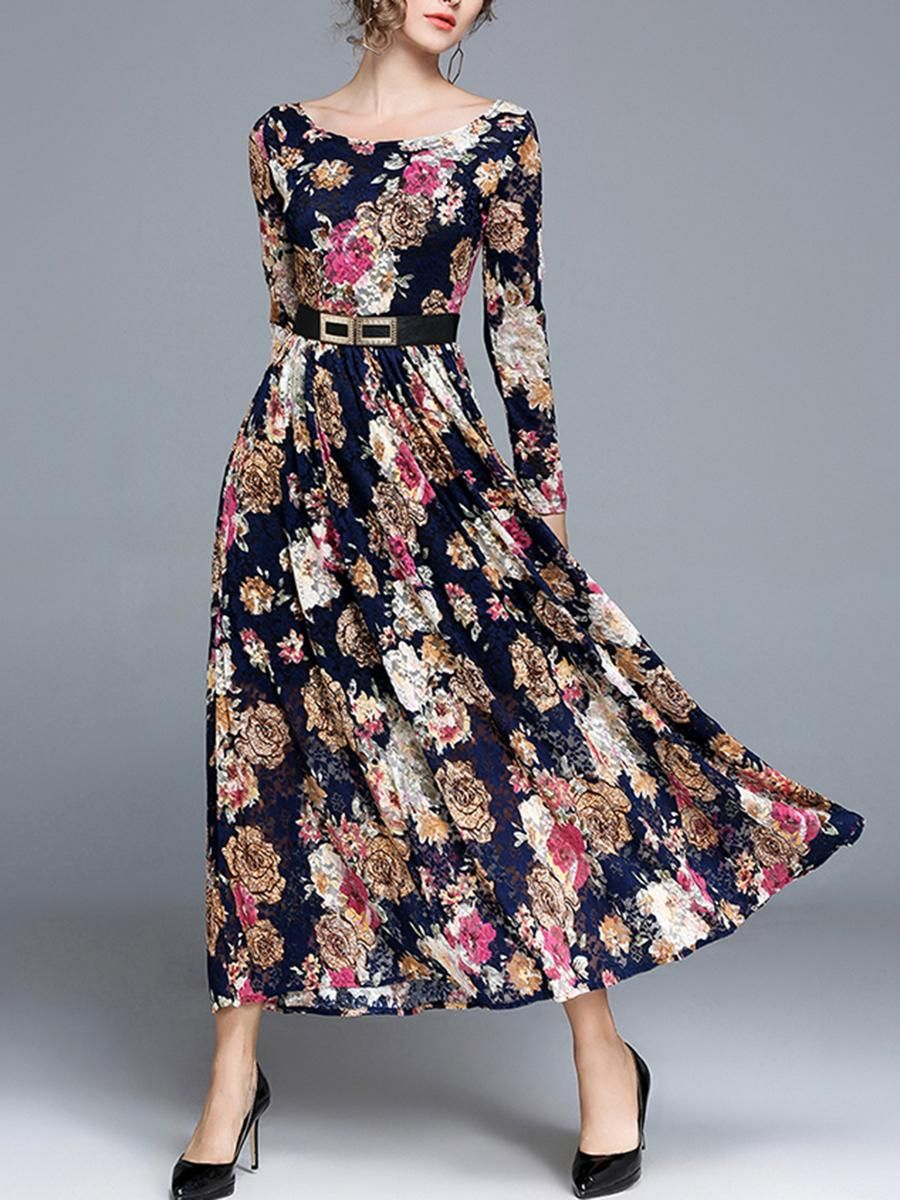 a51990b956cb5 #BerryLook - #berrylook Floral Printed Lace Round Neck Swing Maxi Dress -  AdoreWe.com