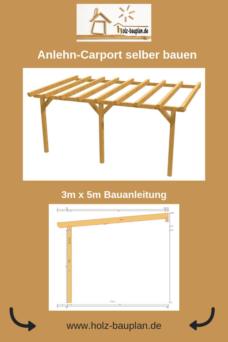 Beliebt Carport selber bauen Anleitung PDF, Bauplan Carport, Holz Bauplan DK42