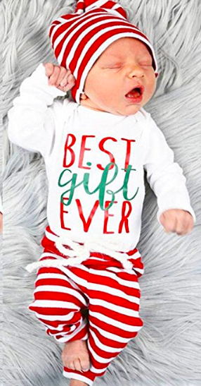 32b26456b Best Gift Ever newborn Christmas outfit. Find this adorable baby Christmas  onesie and matching candy cane pants and hat. | Baby's first Christmas  outfit.