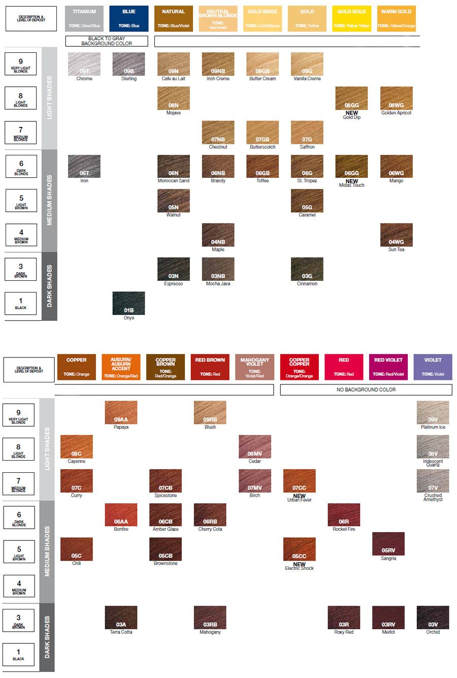 Shades color chart