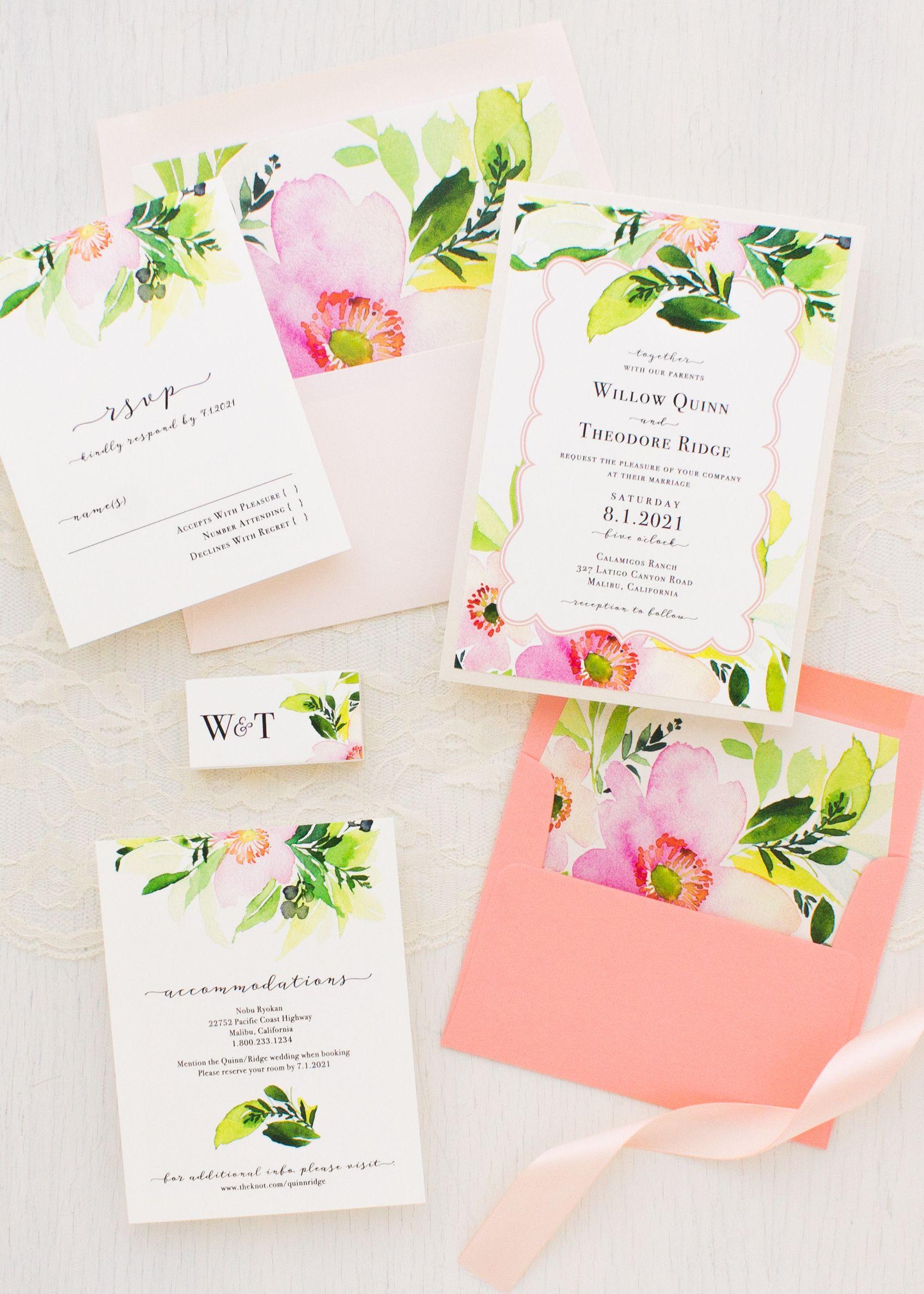 Bright Coral Wedding Invitations Green Peach Florals Beacon Lane Coral Wedding Invitations Floral Wedding Invitations Wedding Invitations Rustic