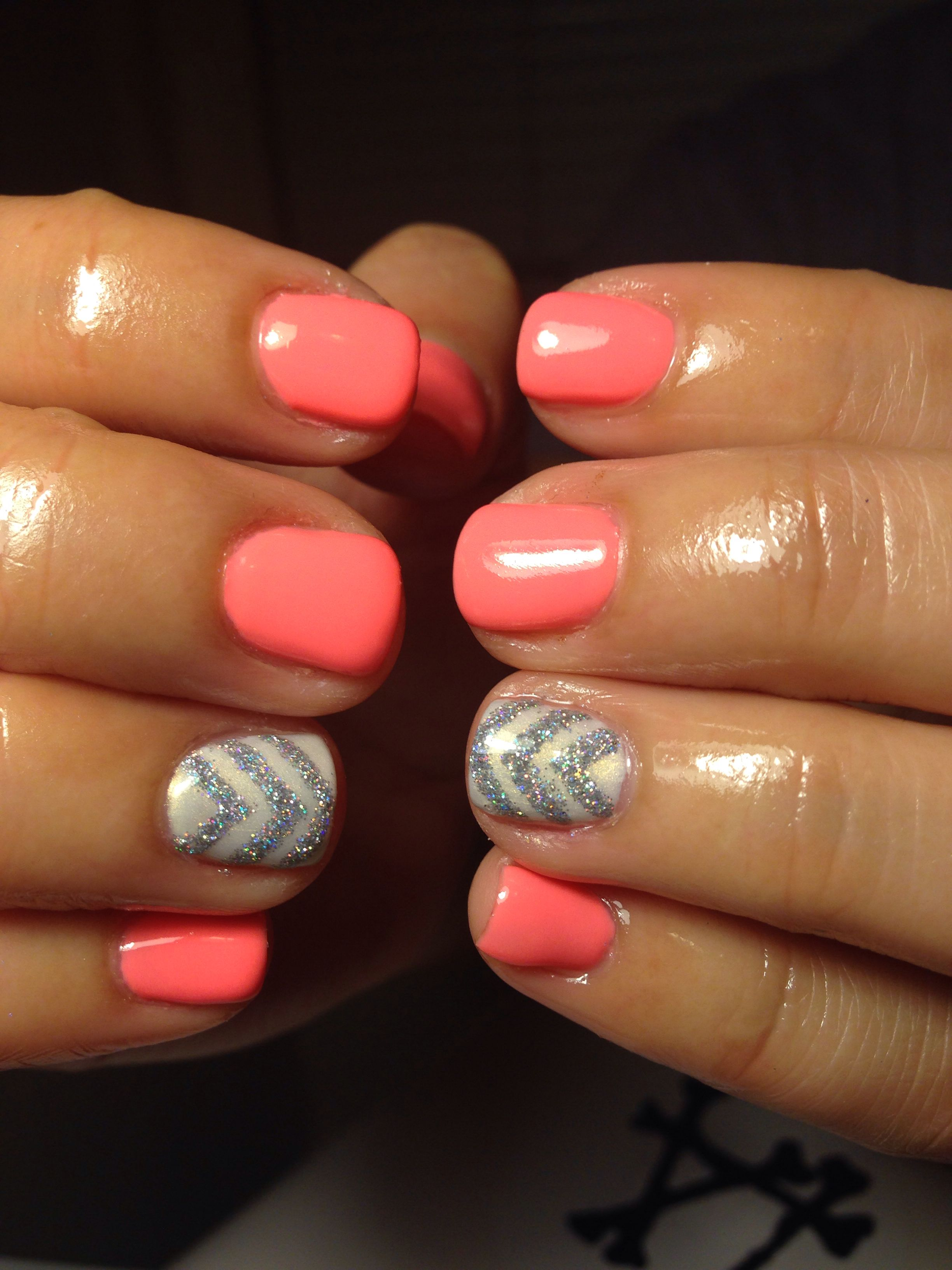 Coral gel nails with silver chevron used all @Red Carpet Manicure ...