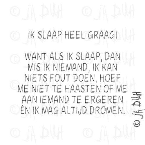 Ik Slaap Heel Graag Ja Duh Humor Spreuk Nederlands Lachen Lol