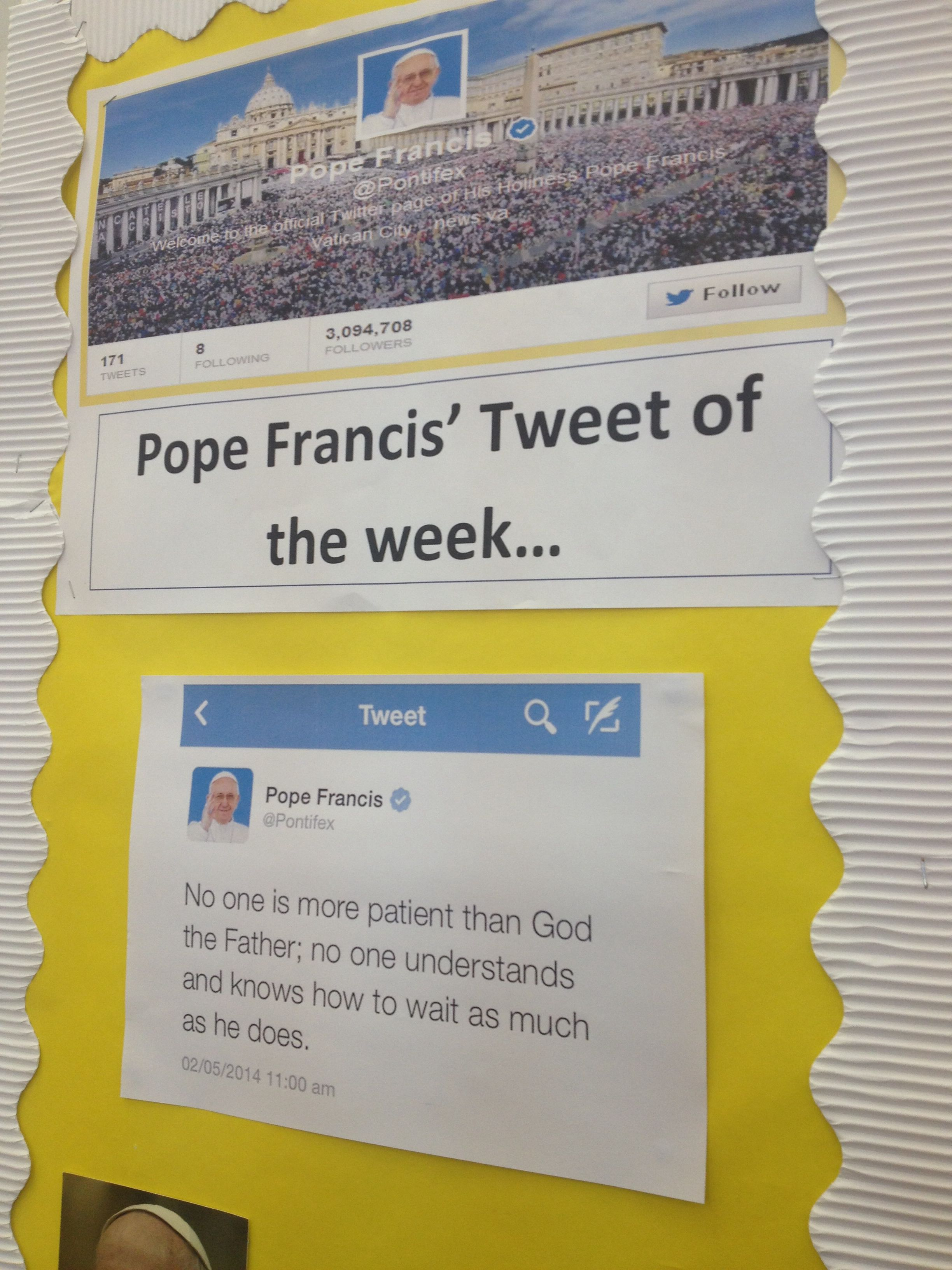 Catholic Classroom Ideas Pope Francis Tweet Of The Week
